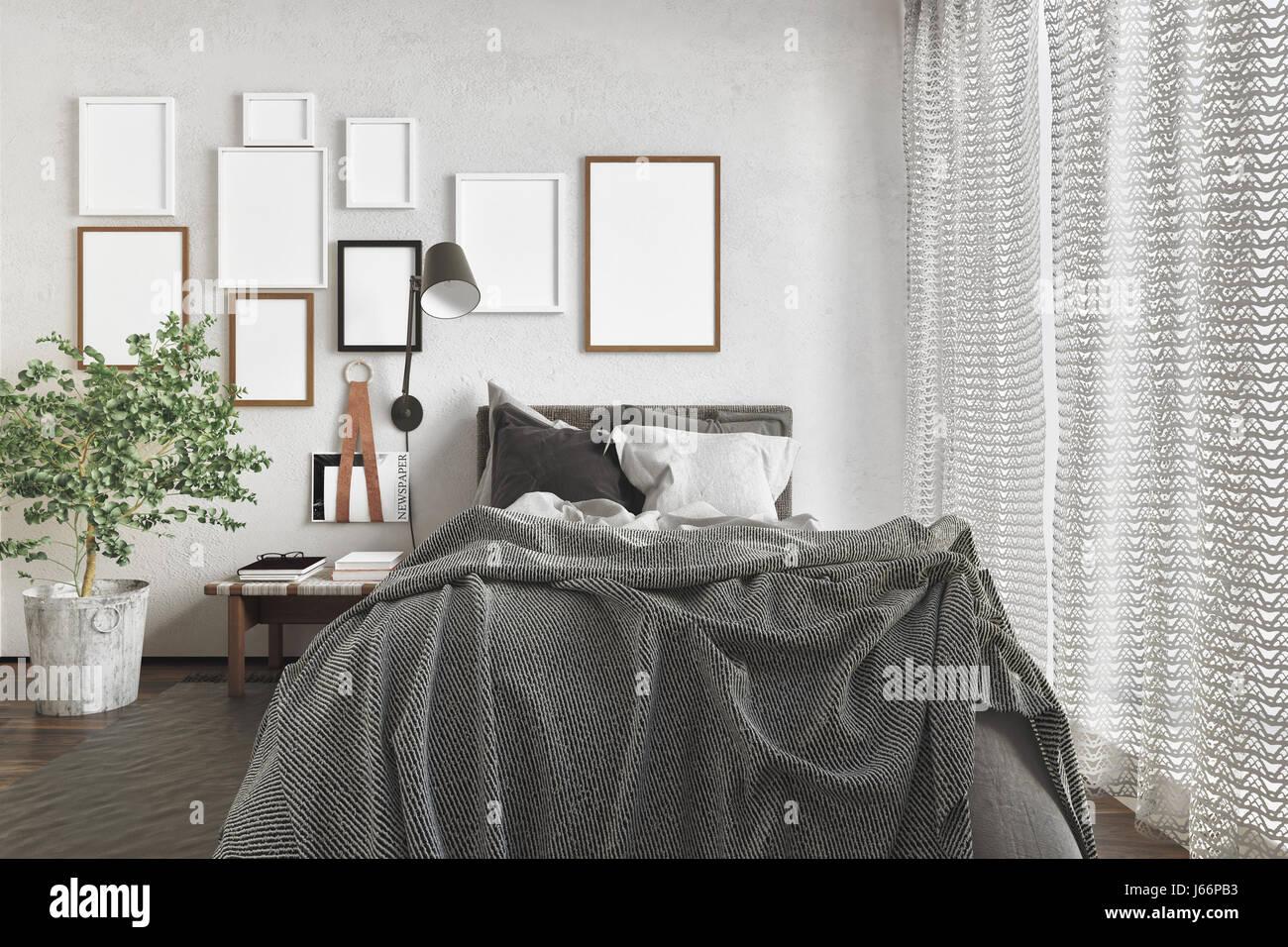 Chaotisch Moderne Schlafzimmer Mit Ein Ungemachtes Bett Und Eine Reihe Von  Leeren Bilderrahmen An Der Wand Durch Tageslicht Durch Ein Großes Fenster  Mit ...