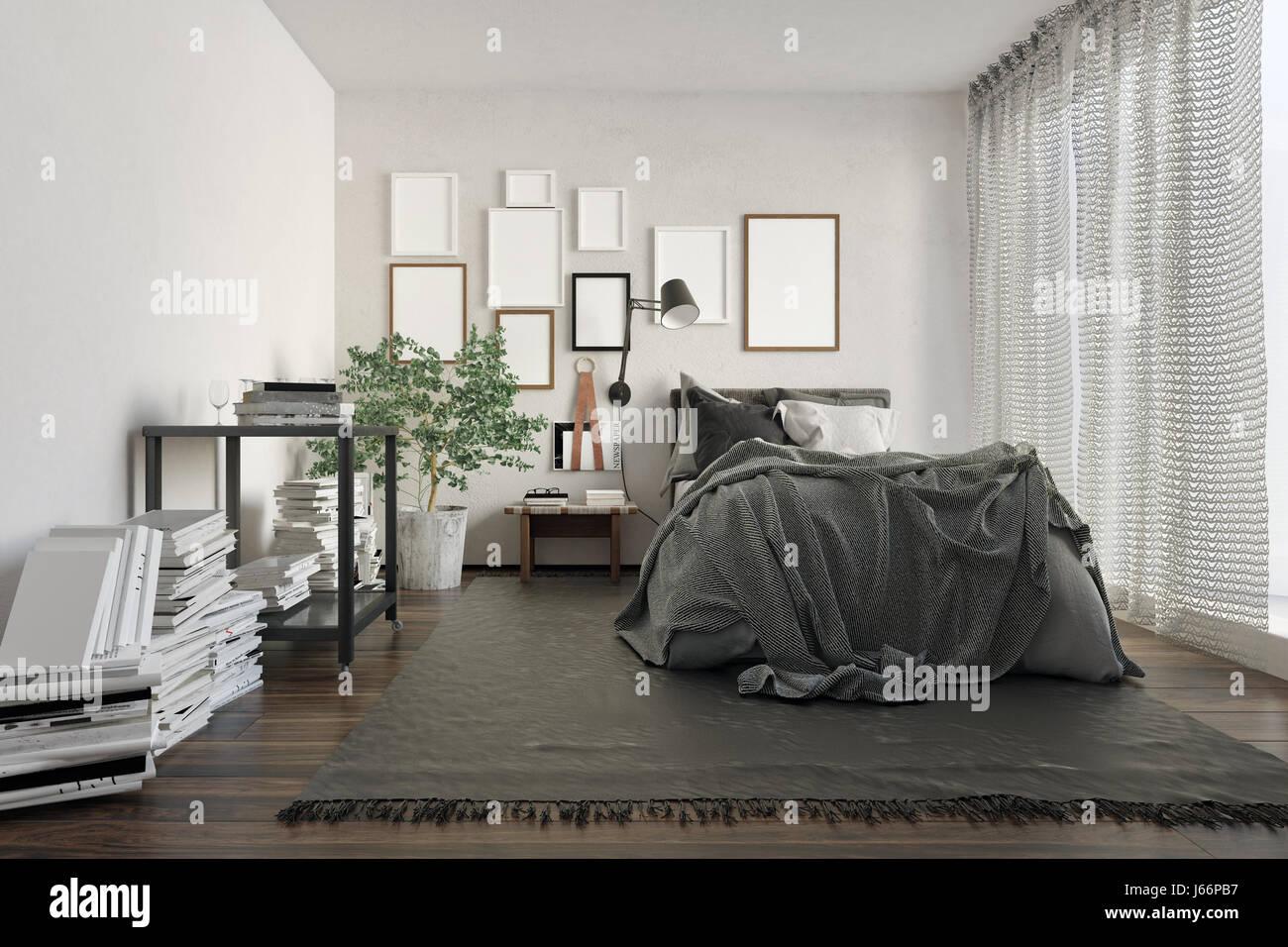 Luxus-Loft-Schlafzimmer, vollgestopft mit Büchern von Mauer und ...