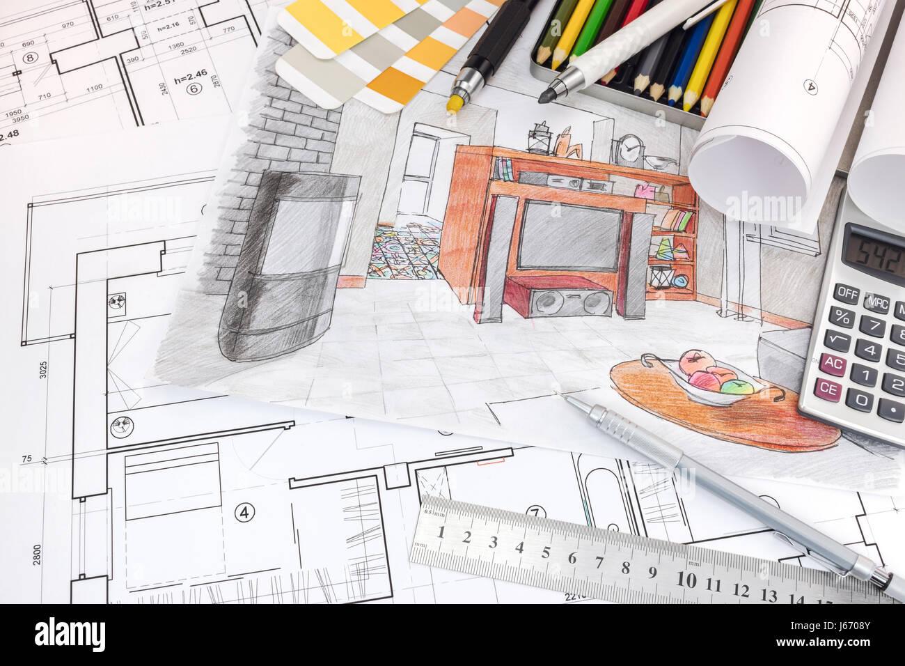 Interior Designer Arbeitsplatz Mit Skizzen Von Wohnung Und Zeichnung Tools Stockbild