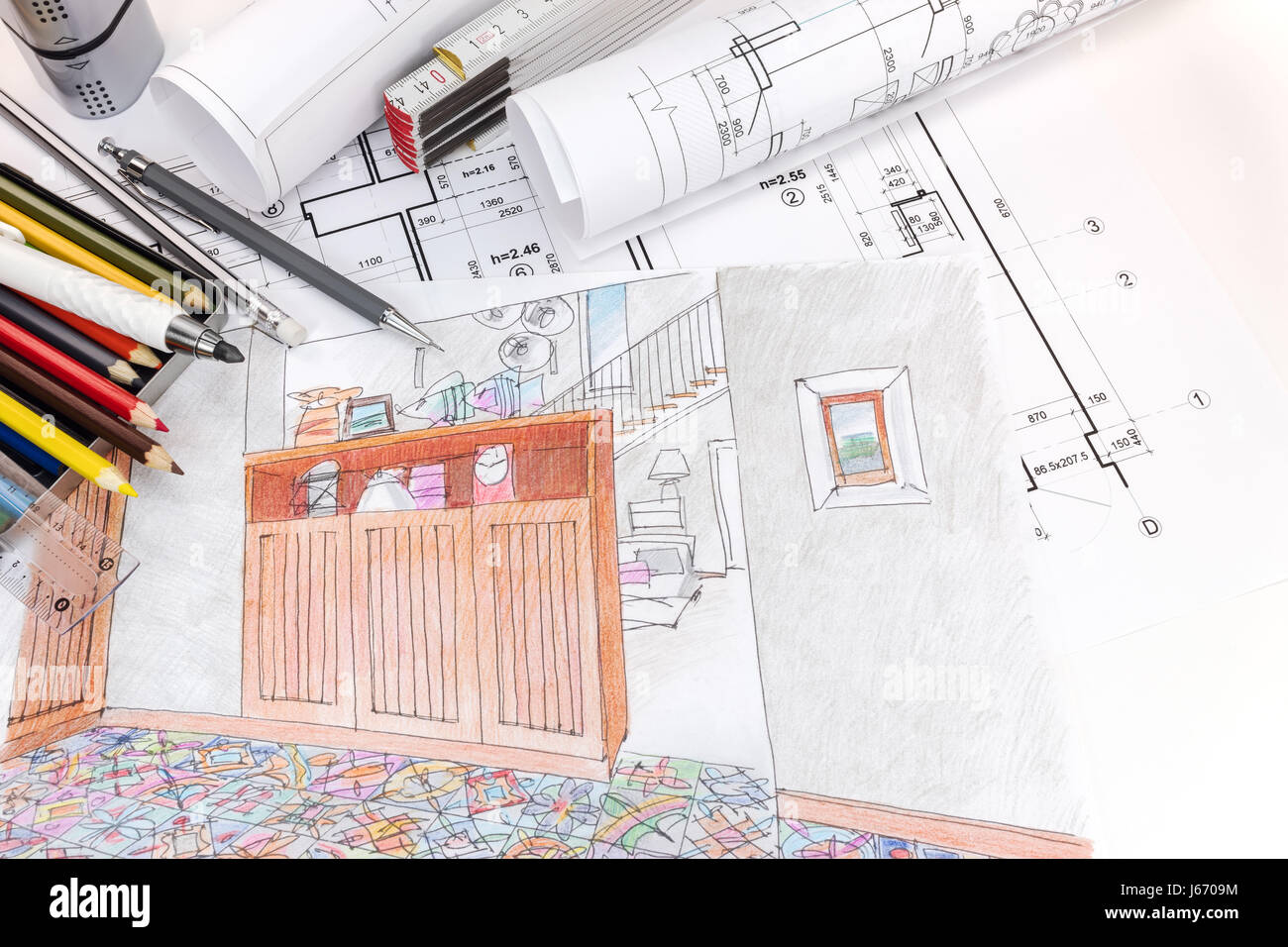 Freehand Perspective Architectural Drawing Living Stockfotos ...