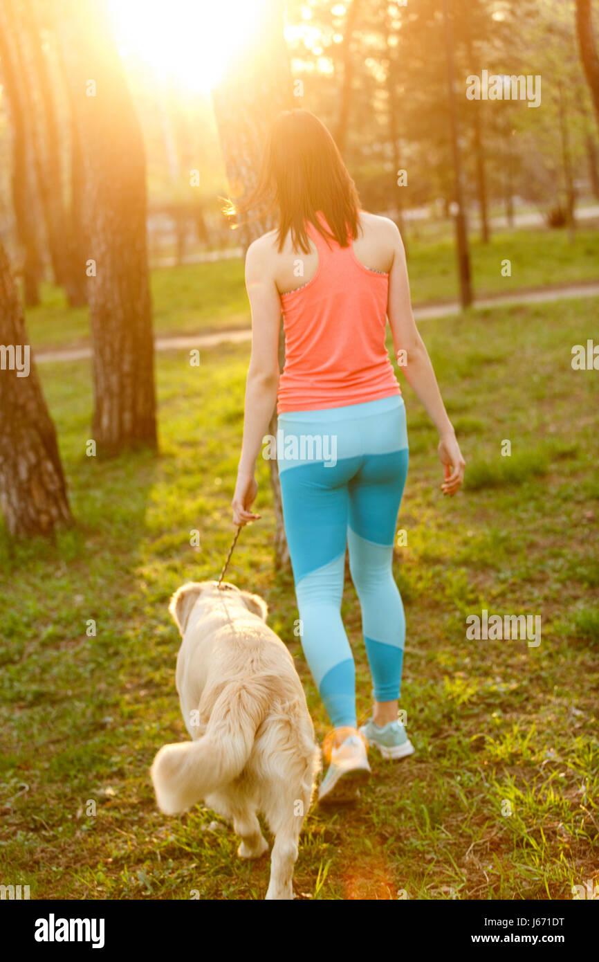 Mädchen mit Hund unter Bäumen Stockbild