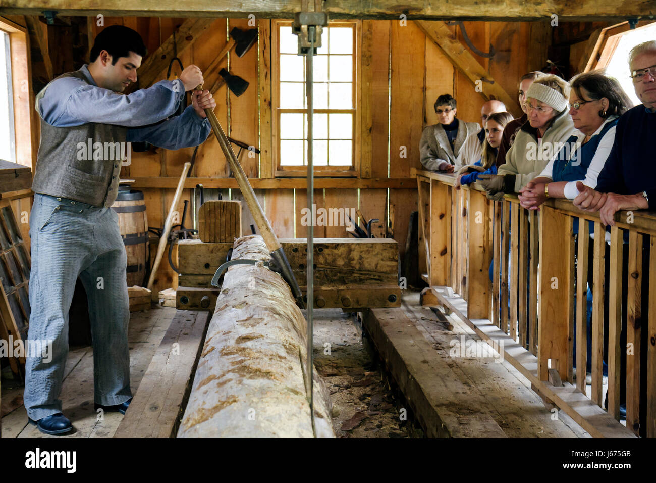 Mackinaw City Michigan Mackinac State Historic Parks Park historische Mühle Creek Discovery Park Wasser betriebene Stockbild