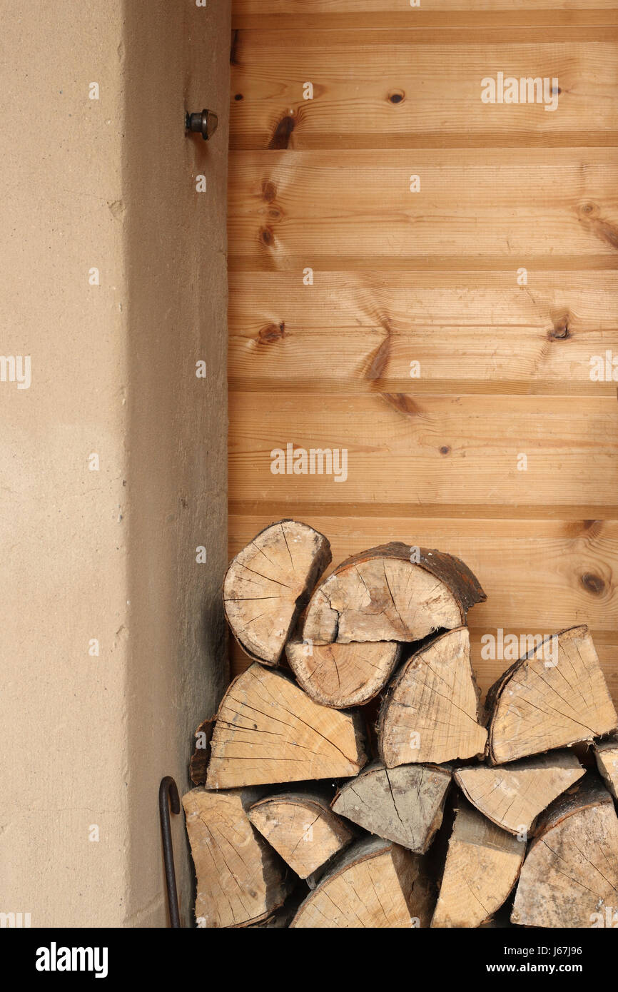 Holzhaus Holz Kamin Ofen Brennholz Holz Wand Wohnzimmer Wohnzimmer