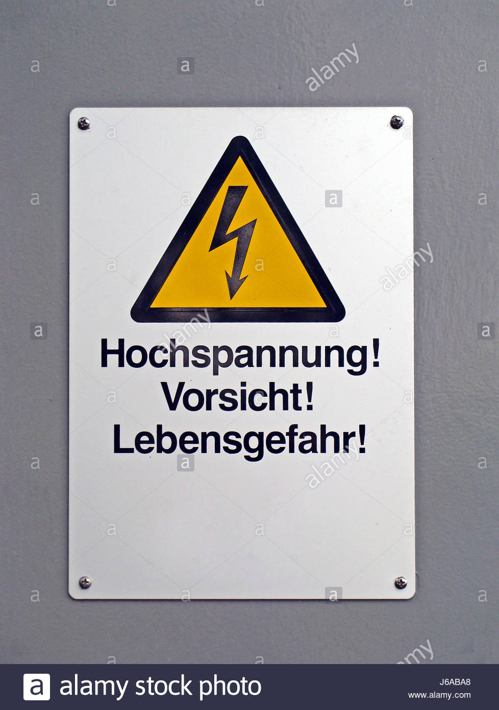 Danger High Voltage Electricity Sign Stockfotos & Danger High ...