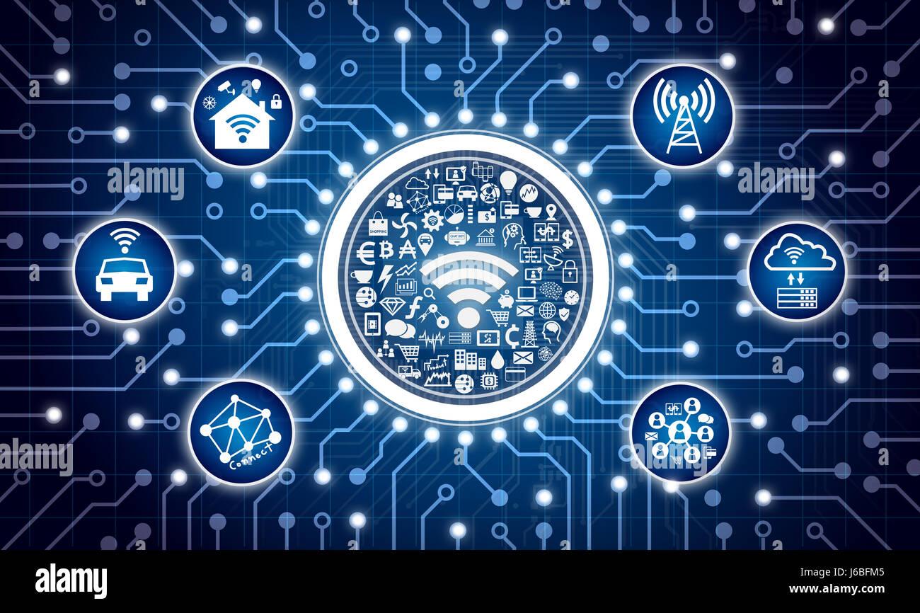 Internet der Dinge-Konzept. Stromkreis-Grafik und Infografik der ...