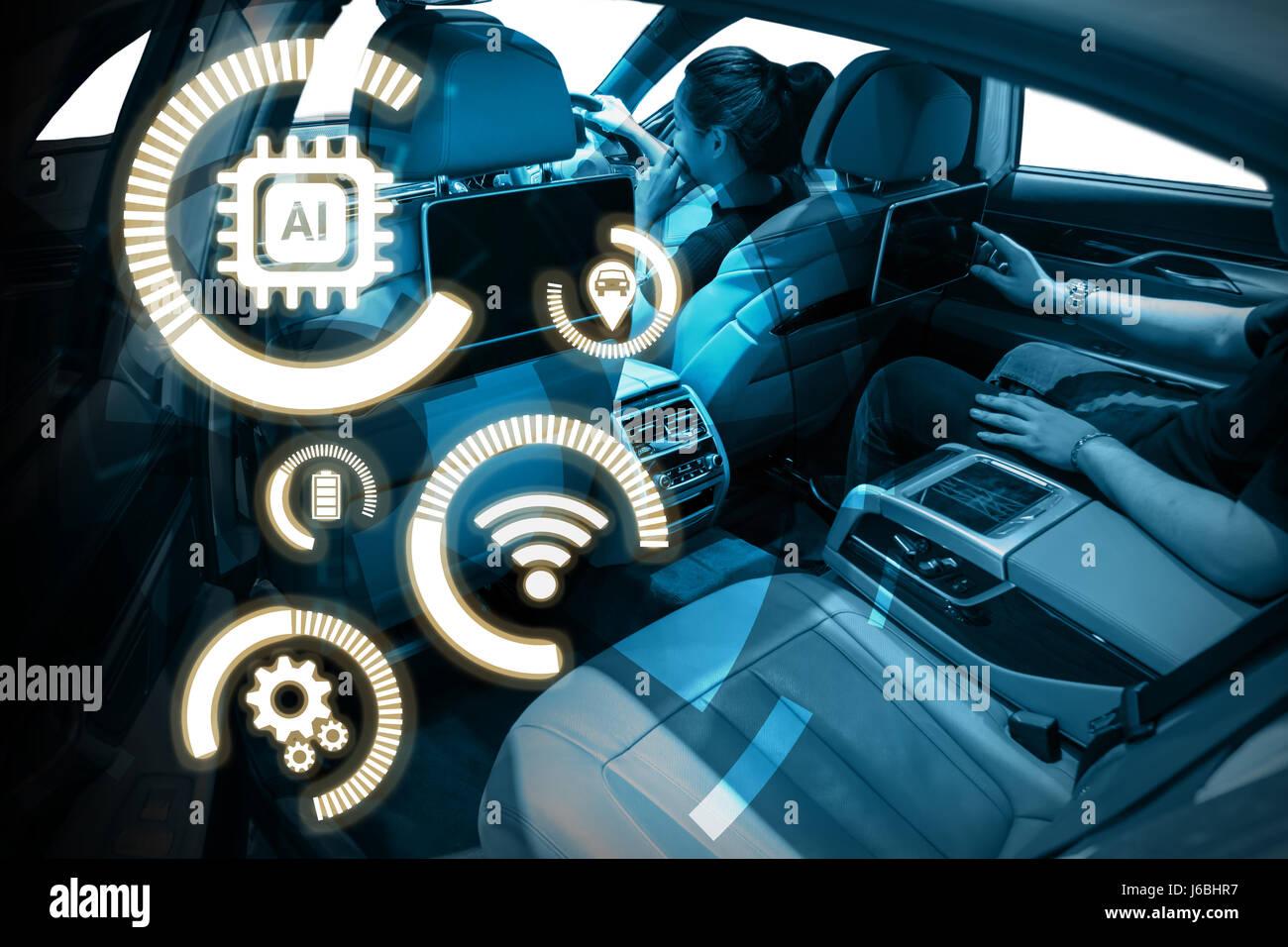 smart auto und internet der dinge iot konzept technologie icons und hightech vehical. Black Bedroom Furniture Sets. Home Design Ideas