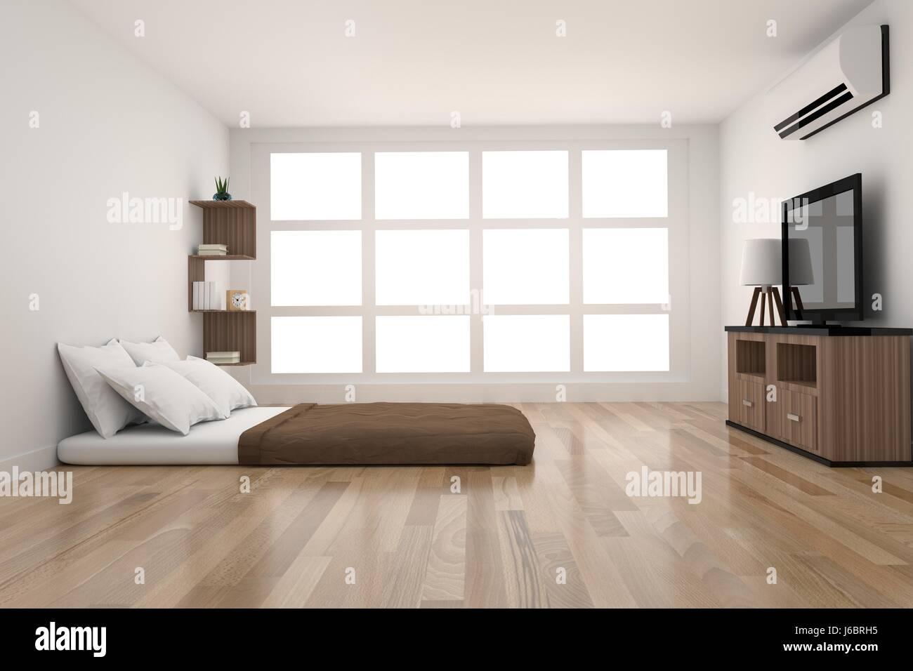 Moderne Schlafzimmer Dekoration im Parkett Holz Design mit Licht vom ...