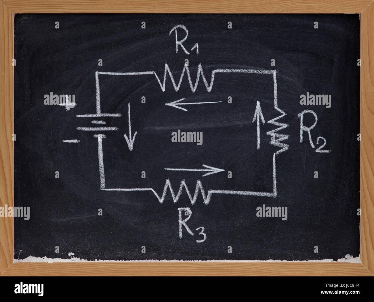 elektrische aktuelle Batterie Schaltung schematische schwarze ...