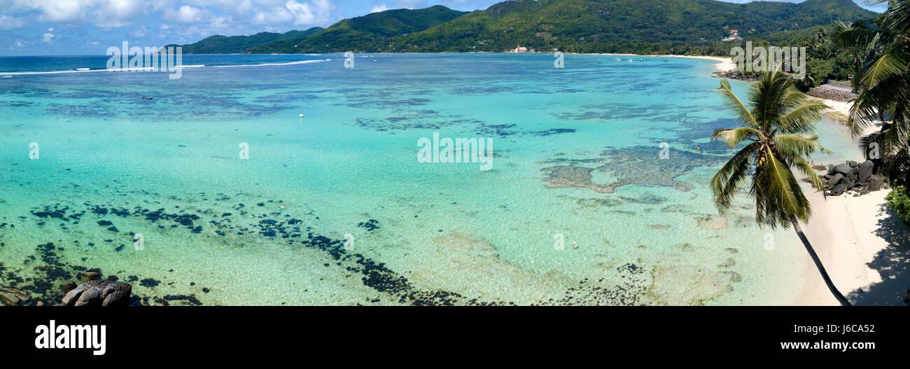Luftaufnahme der Anse Royale, Mahe, Seychellen Stockfoto