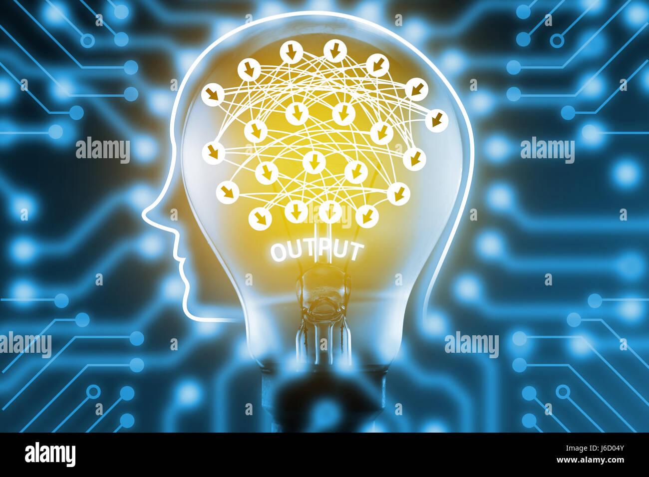 Tiefe lernen, maschinelles lernen und künstliche Intelligenz Konzept ...