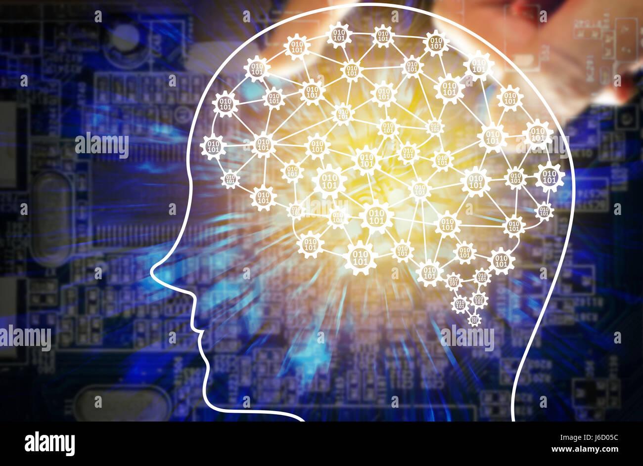 Maschinenkonzept lernen und künstliche Intelligenz. FinTech Finanztechnologie Konzept. Roboter Gehirn mit binär Stockbild