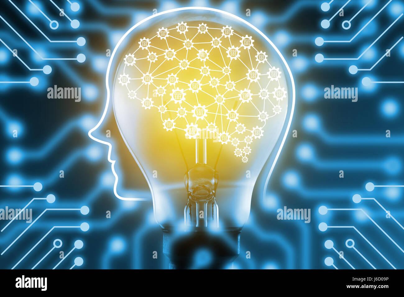 Maschinenkonzept lernen und künstliche Intelligenz. FinTech Finanztechnologie Konzept. Roboter Gehirn mit Getriebe Stockbild