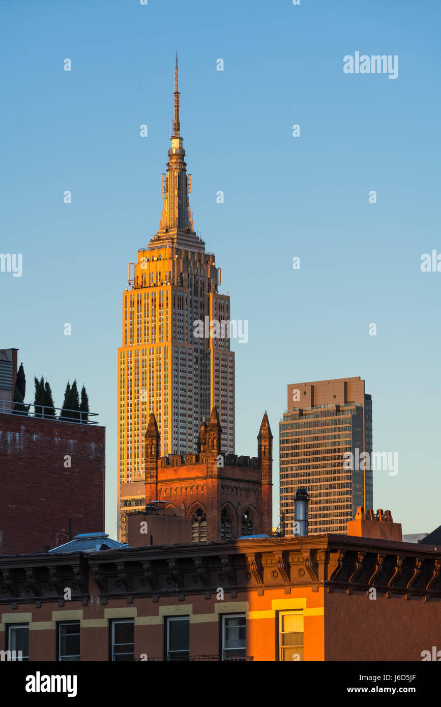 Das Empire State Building bei Sonnenuntergang. New York City Stockbild
