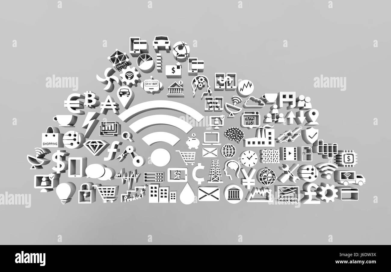 Internet der Dinge (IOT) und digital Lifestyle-Konzept. Weißer Text ...