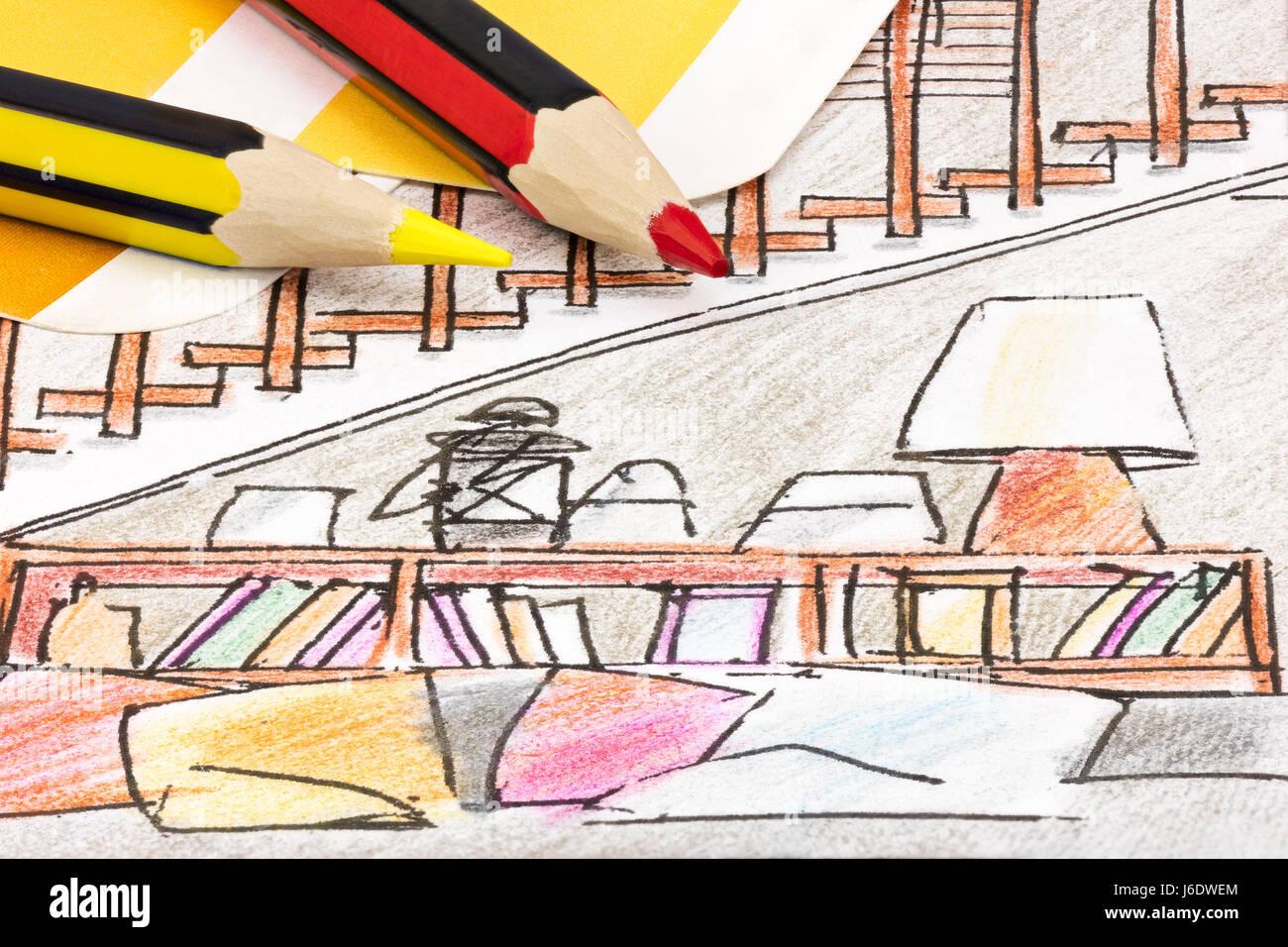 Entwurf einer Blaupause für moderne Wohnzimmer Möbel. Bleistifte mit ...