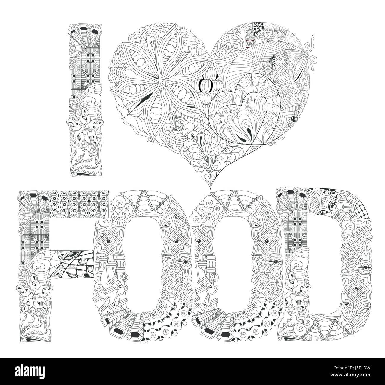 Das Wort Ich Liebe Essen Zum Ausmalen Dekorative Zentangle