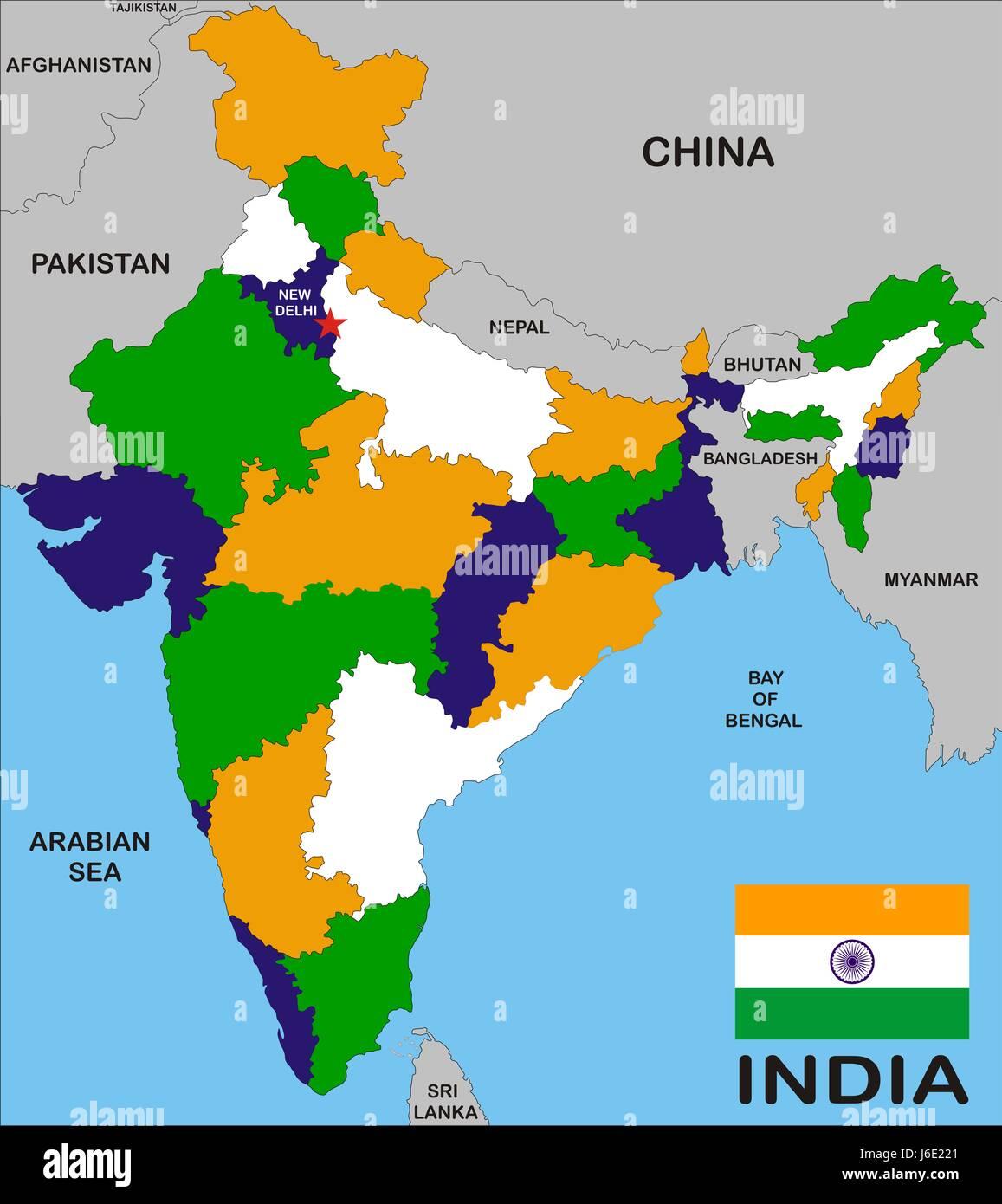 Indien Karte Atlas Weltkarte Reisen Modell Projekt Konzept Plan