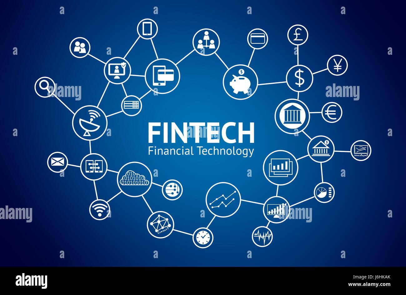 FinTech-Konzept. Ikonen der Finanztechnologie, Bank, Weltwährungen, Graph, Smartphone, Investitionen, charttechnische, Stockbild