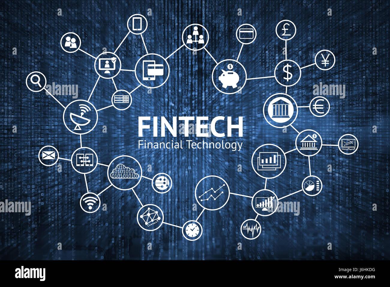 FinTech Internet-Konzept. Text und Investitionen Finanztechnologie Symbole mit blauen Matrix codiert Hintergrund Stockbild