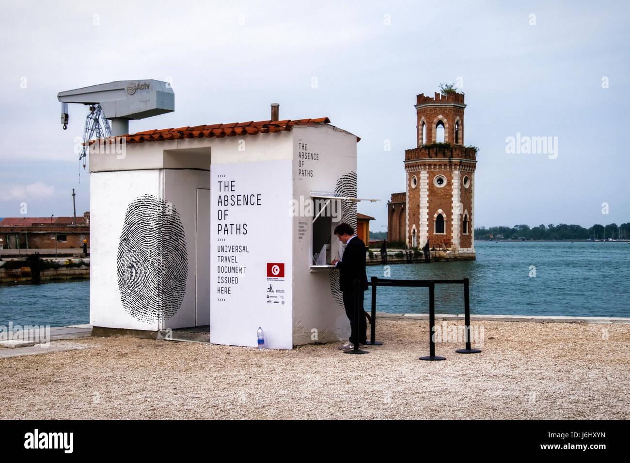 Hafen von Venedig, Castello, Arsenale. 57. Biennale 2017, La Biennale di Venezia.Tunisian Pavillon, die Abwesenheit Stockfoto