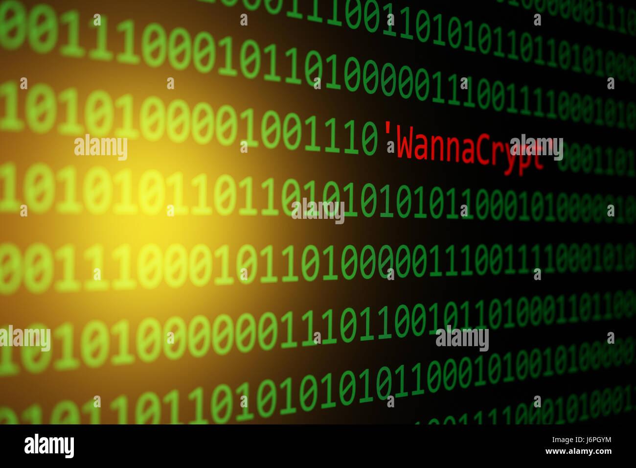 Das WannaCrypt und Binär-Code, der WannaCry und RansomWare, Konzept Sicherheit und Malware angreifen. Stockbild