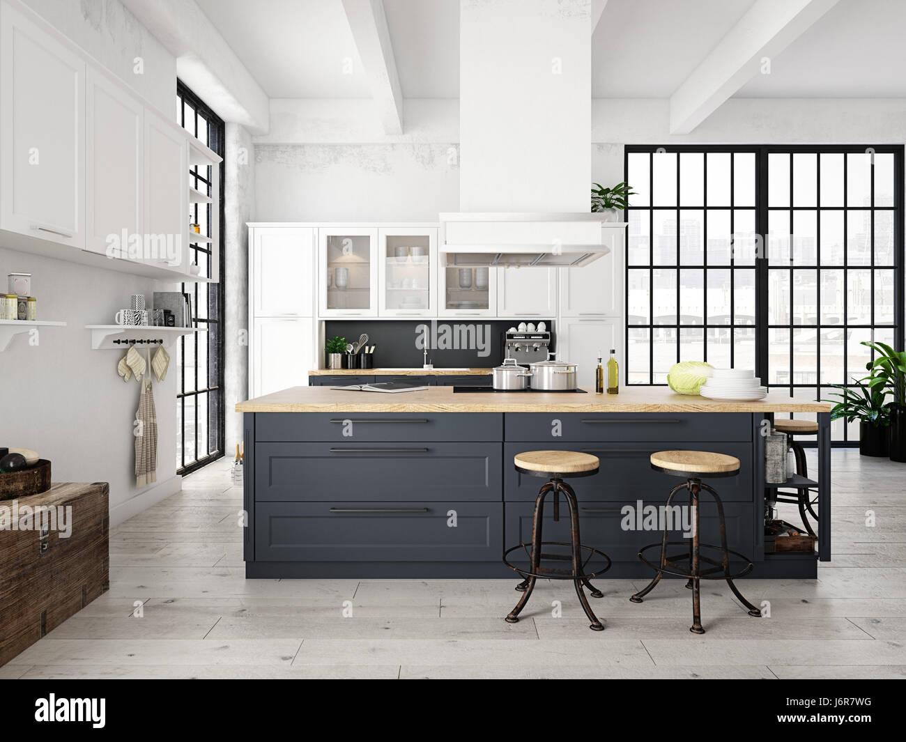 Moderne nordische küche in loft wohnung d rendering stockfoto