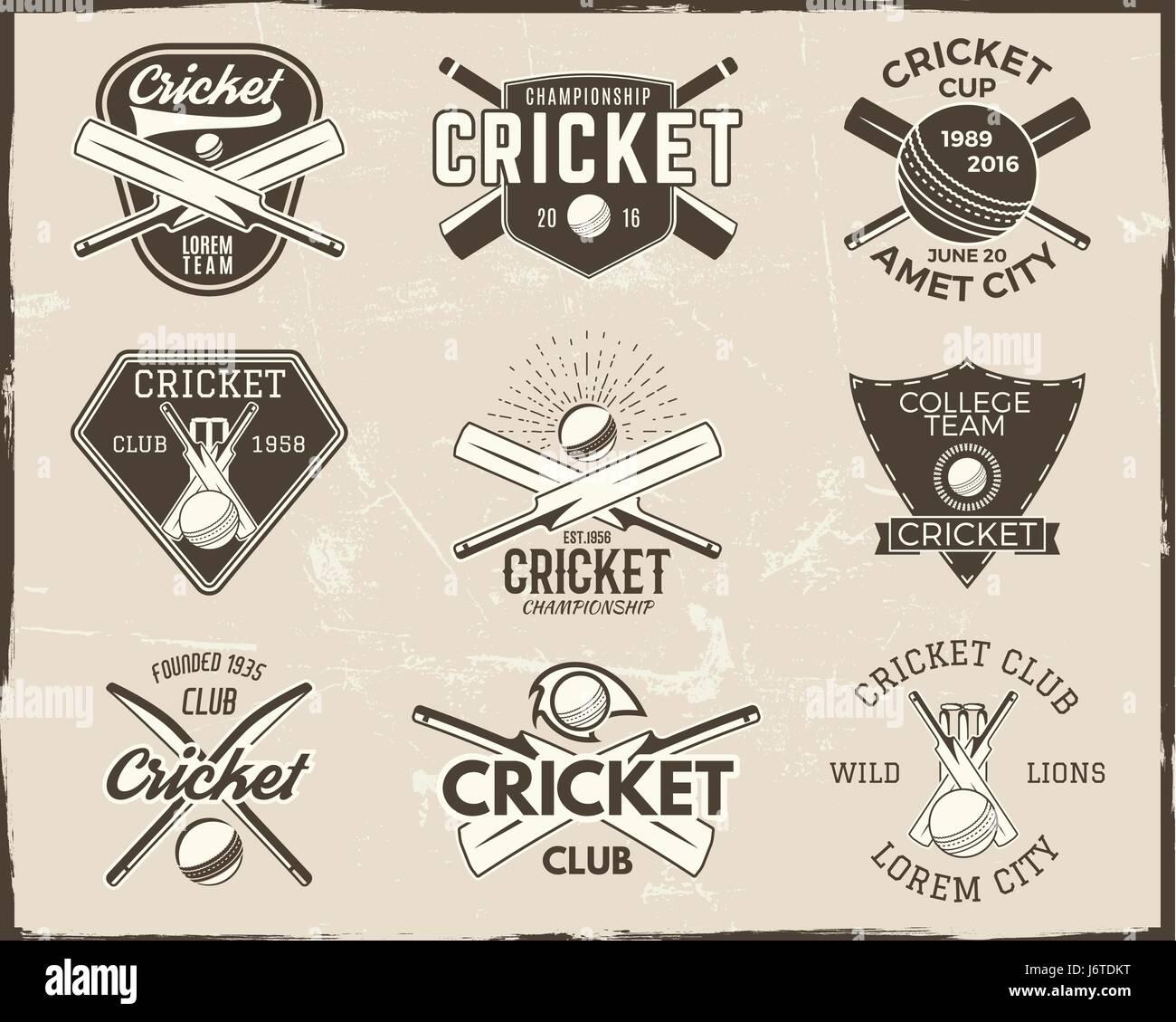 Satz von Retro-Cricket-Sport-Vorlage-Logo-Designs. Verwenden Sie als ...