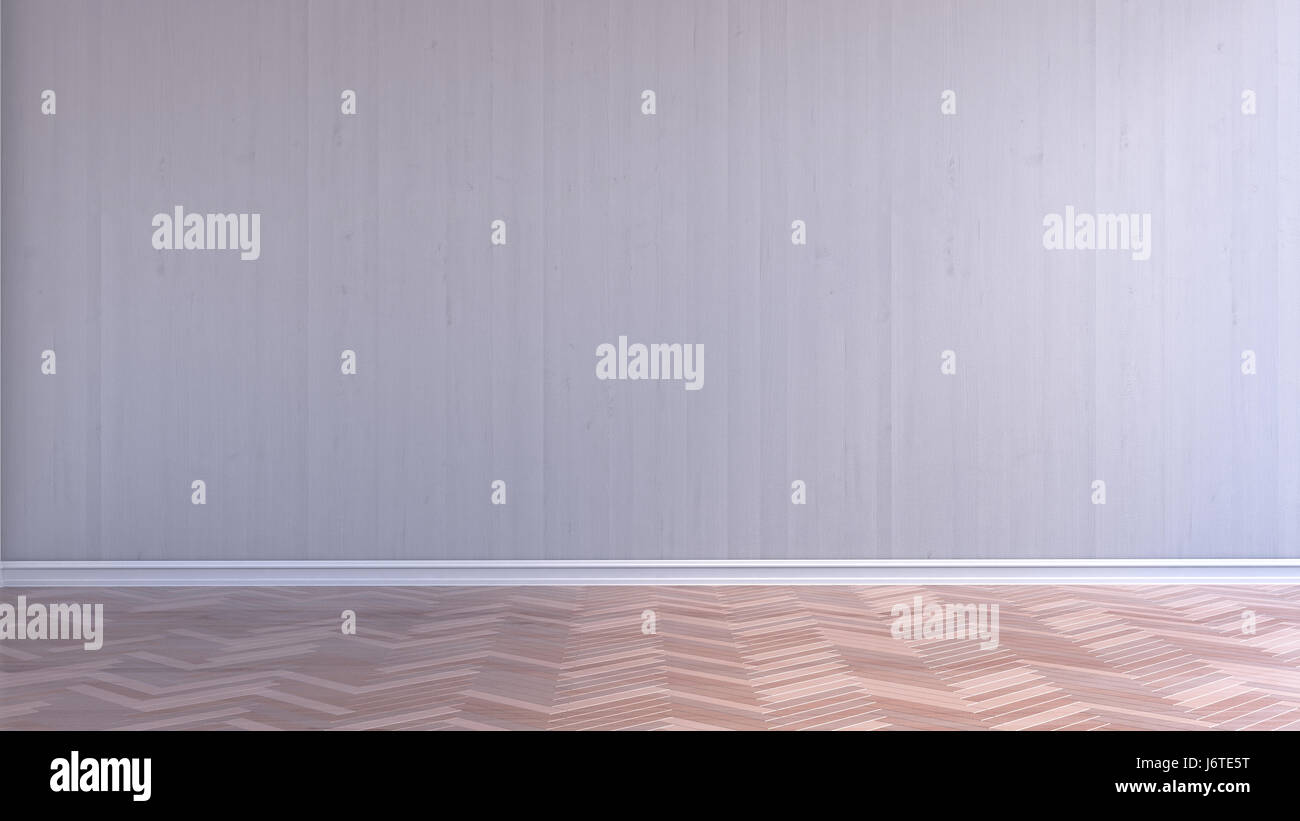 Leeren Innenraum Mit Weißem Holz Wand  Und Parkett, 3D Rendering Stockbild