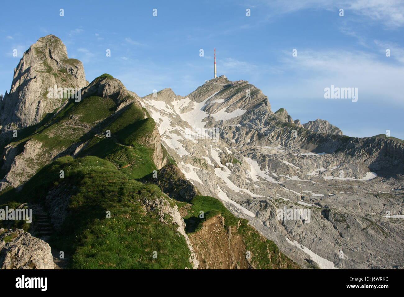 Rock blau Sport Sport Berggipfel Sommer sommerlich Schweiz Rock Anblick Stockbild
