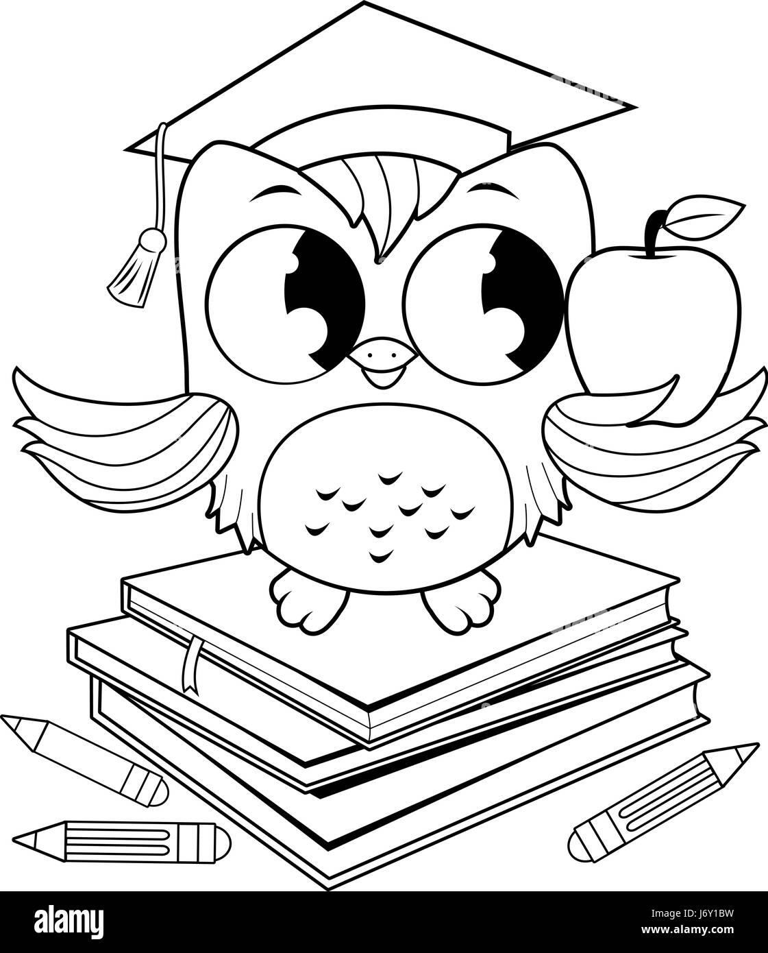 Eule auf Bücher mit Graduierung Hut Buch Malvorlagen Vektor ...