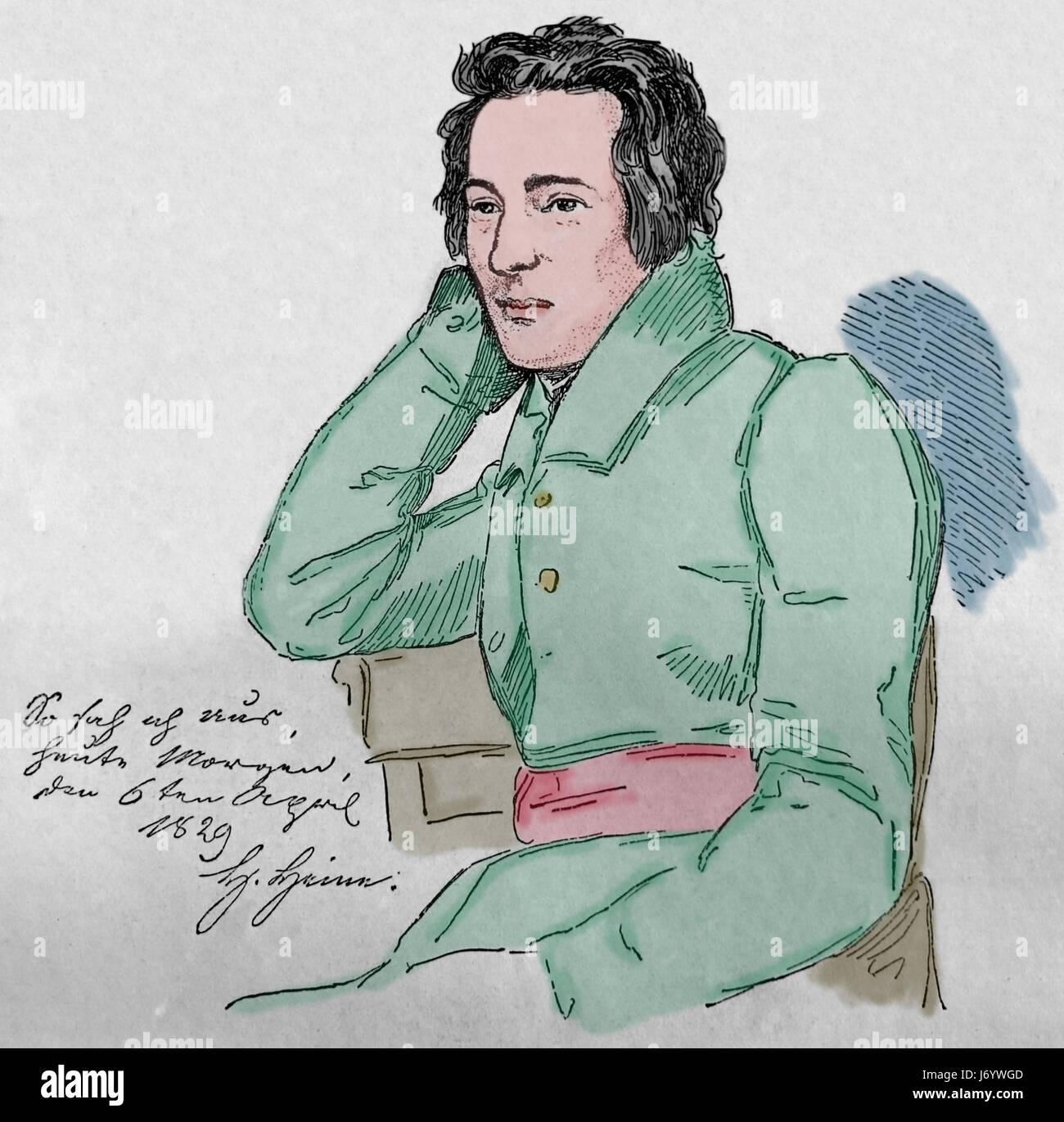 Heinrich Heine (1797-1856). Deutscher Dichter. Romantik. Kupferstich, 19. Jahrhundert. Unseres Jahrhunderts, 1883. Stockbild