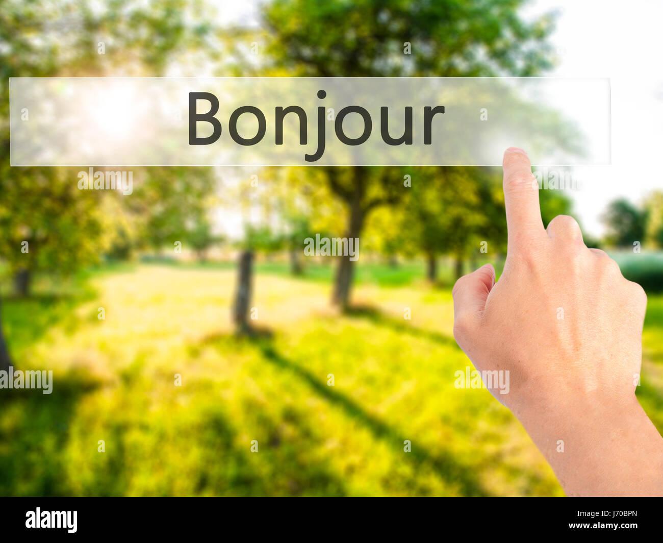Bonjour Guten Morgen In Französischer Sprache Hand