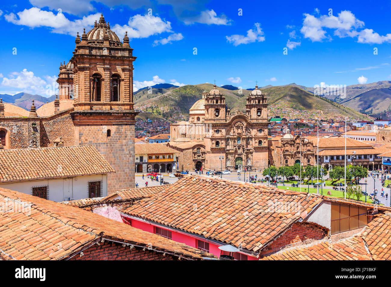 Cusco, Peru-die historische Hauptstadt des Inka-Reiches. Plaza de Armas. Stockbild