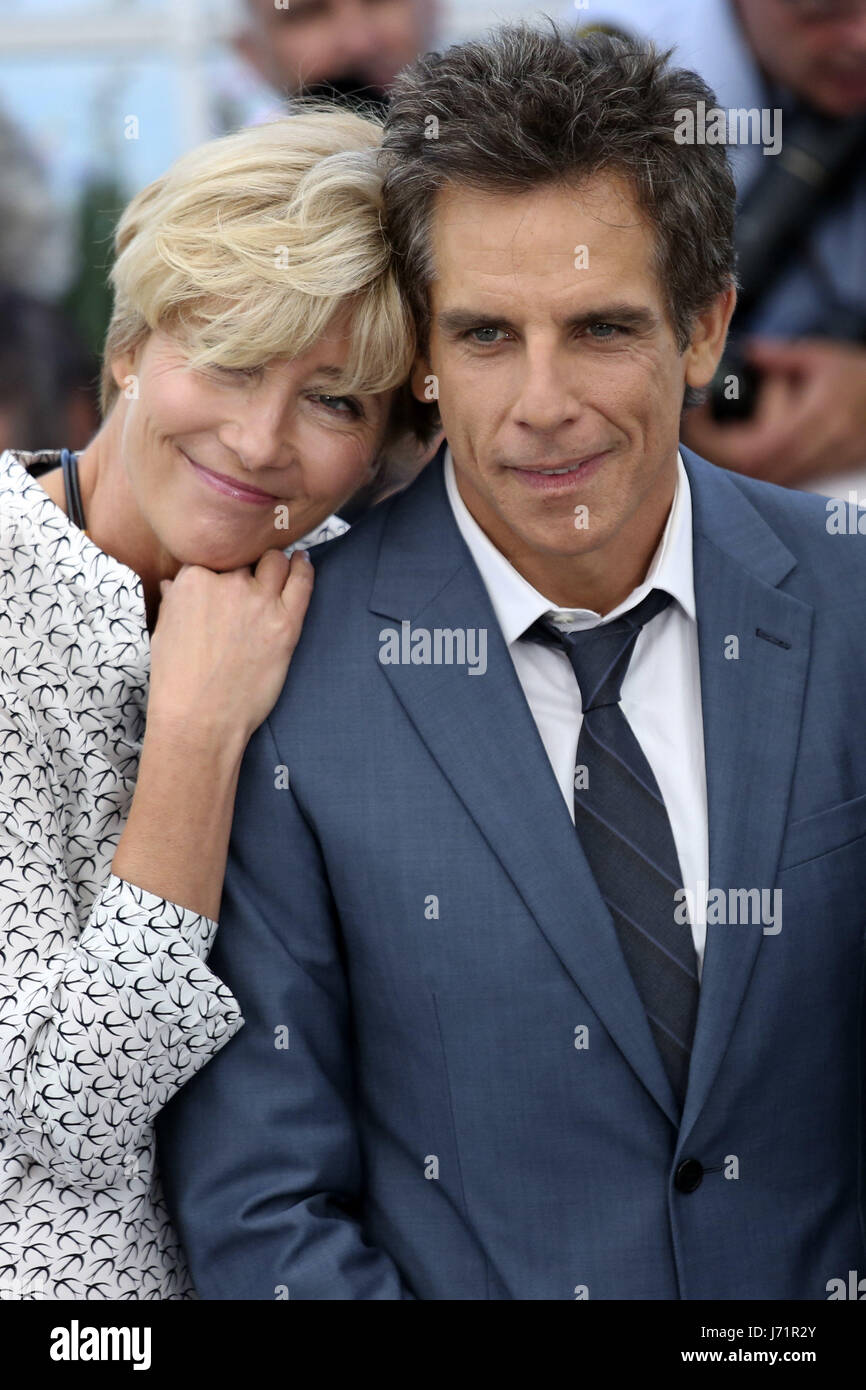 Cannes, Frankreich. 21. Mai 2017. Emma Thompson und Ben Stiller in 'The Meyerowitz Stories' Fototermin während Stockbild