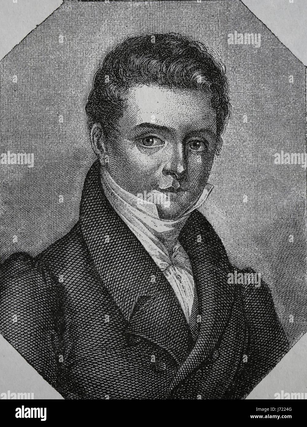 Washington Irving (1783-1859). US-amerikanischer Schriftsteller. Romantik. Gravur, unseres Jahrhunderts, 1883. Spanische Stockbild