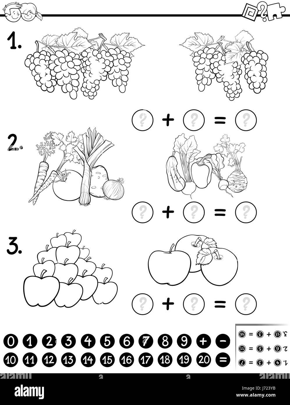 Schwarz / Weiß Cartoon Illustration der mathematischen Lehrtätigkeit ...