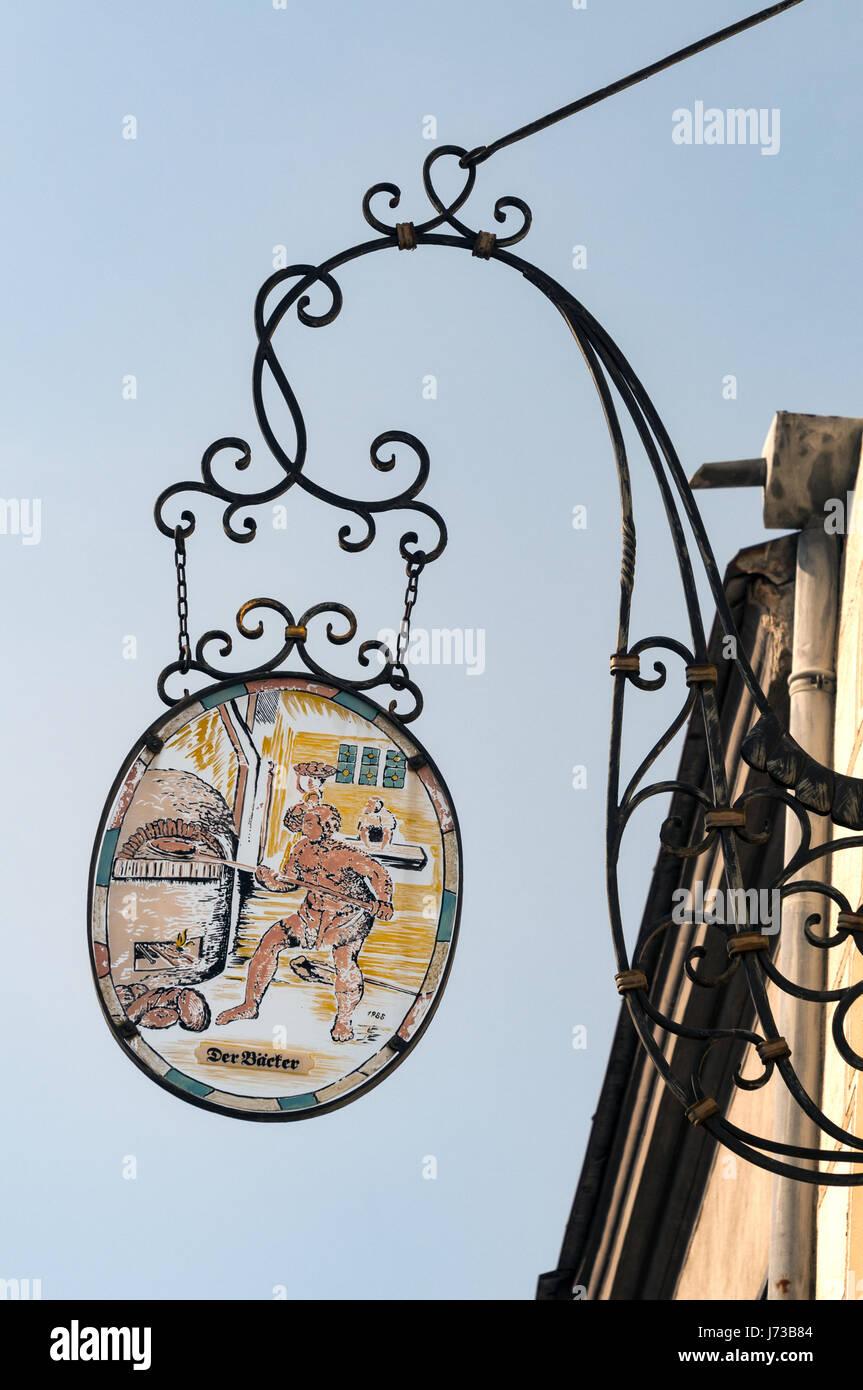 Österreich, Wachau, Krems an der Donau Stein shop Zeichen Stockbild