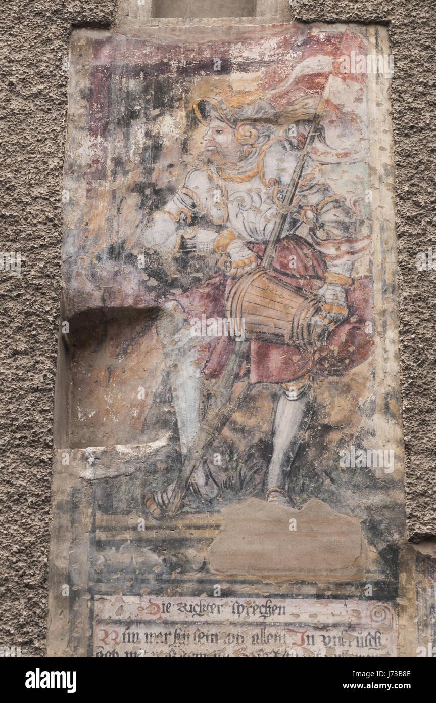 Österreich, Wachau, Krems ein der Donau Stein, bemalte Wand Stockbild