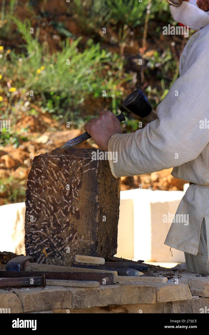 Handwerker Handwerker Bastler Werkstatt Industrie starke Skulptur Schloss Stockbild