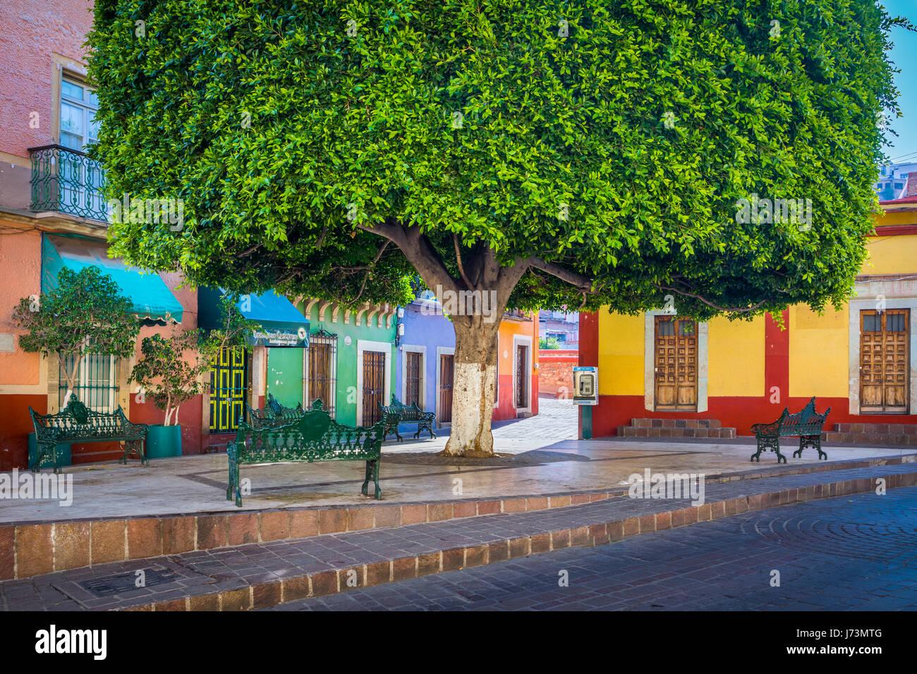 ---Guanajuato ist eine Stadt und Gemeinde in Zentralmexiko und die Hauptstadt des Staates mit dem gleichen Namen. Stockbild