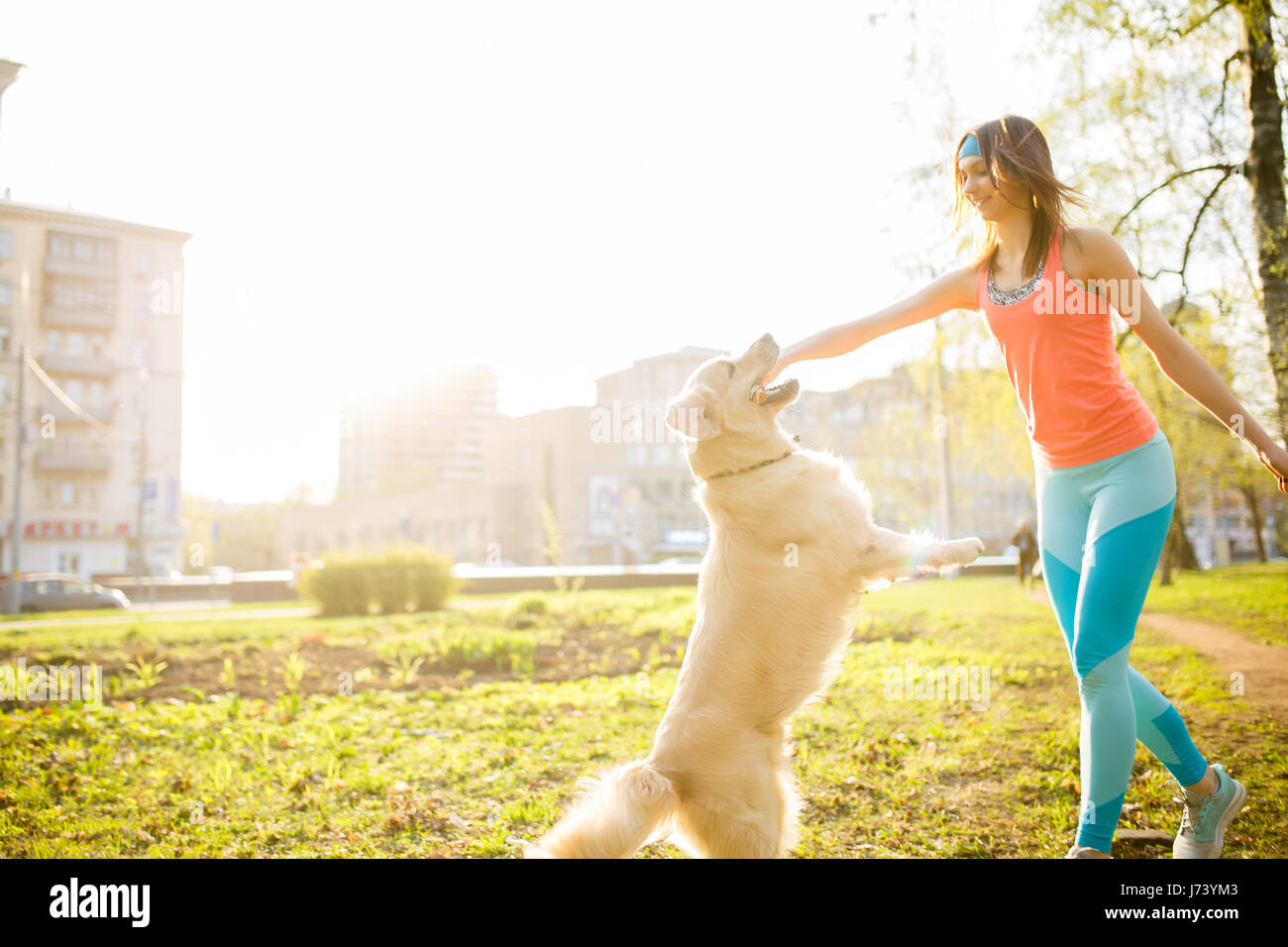 Junge Brünette spielen mit Hund Stockbild