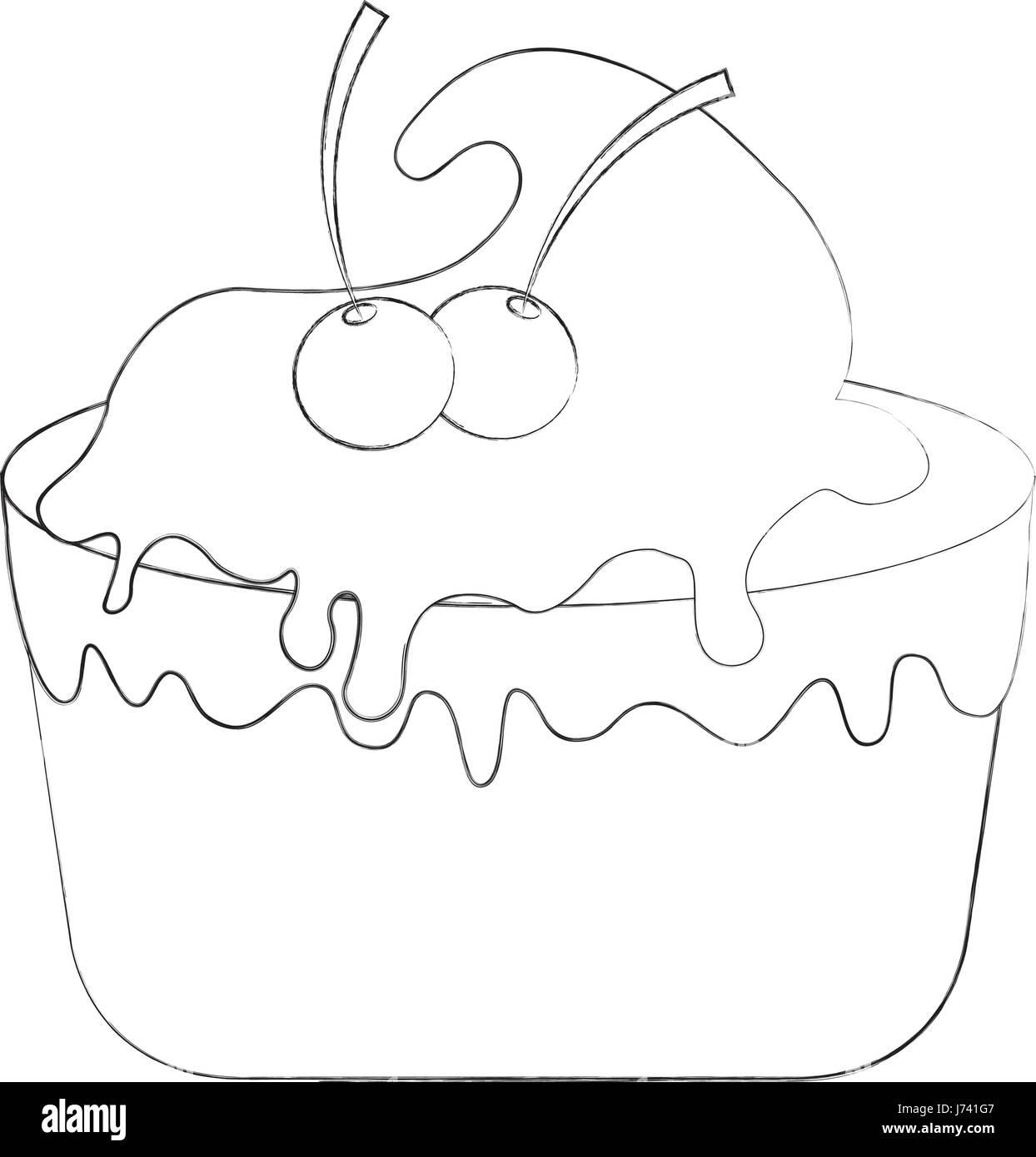 Susse Gebackene Kuchen Cartoon Vektor Abbildung Bild 142074583 Alamy