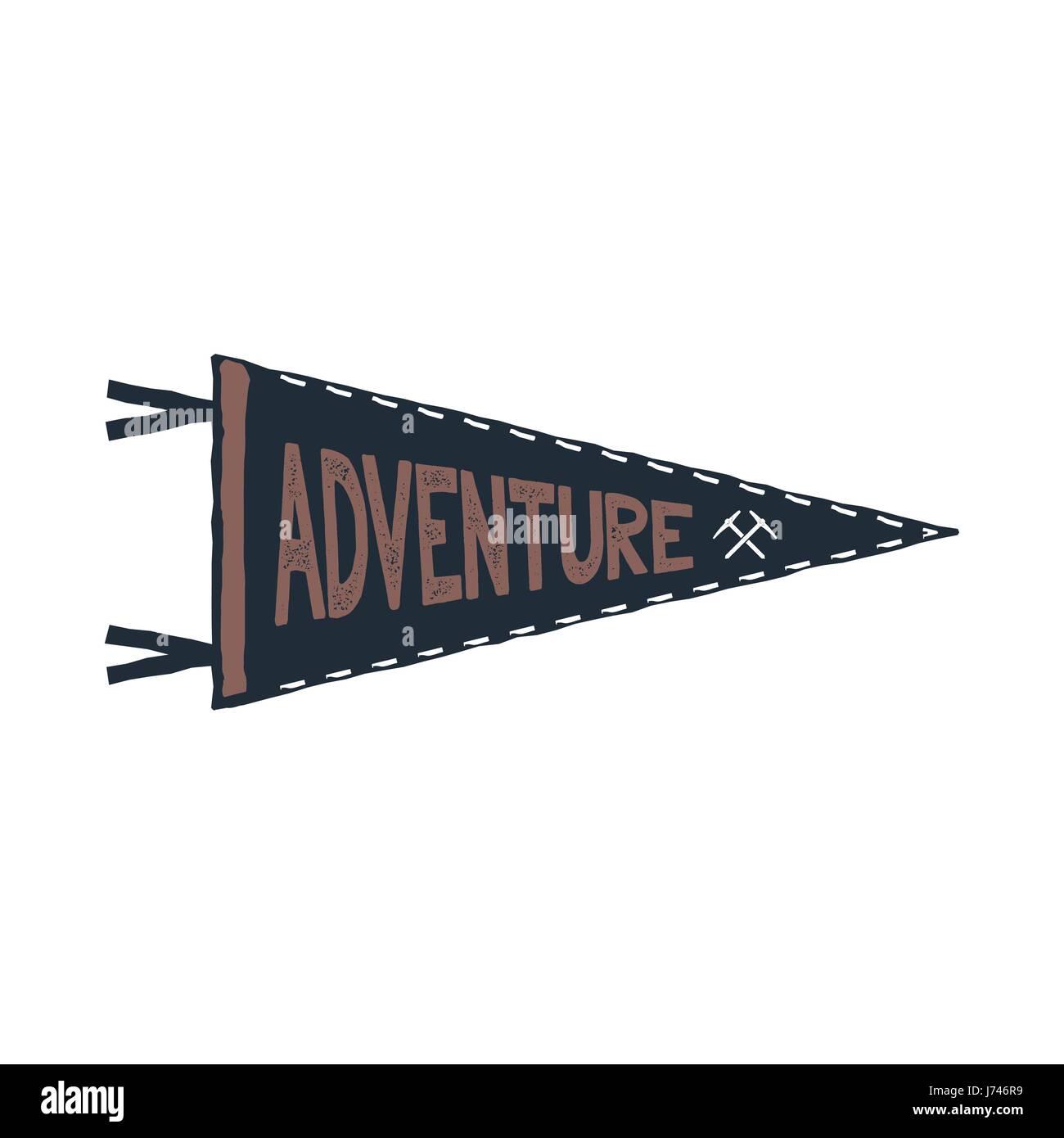 Abenteuer-Wimpel-Design. Monochrome Anhänger Vorlage. Typografie ...