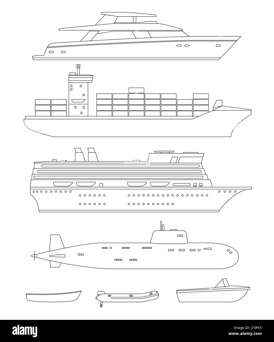 Schiffe und Boote Strichzeichnungen Stockbild