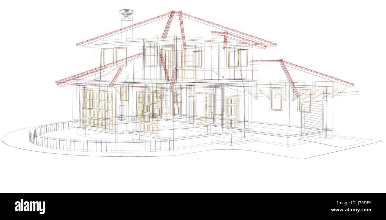 Hausbau Modell Projekt Konzept Plan Entwurf Engineering Linie Cad Design