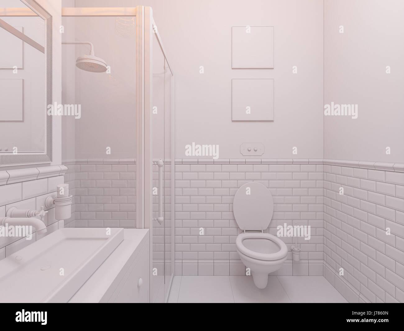 3D Illustration einer Design-Badezimmer-Interieur im klassischen ...