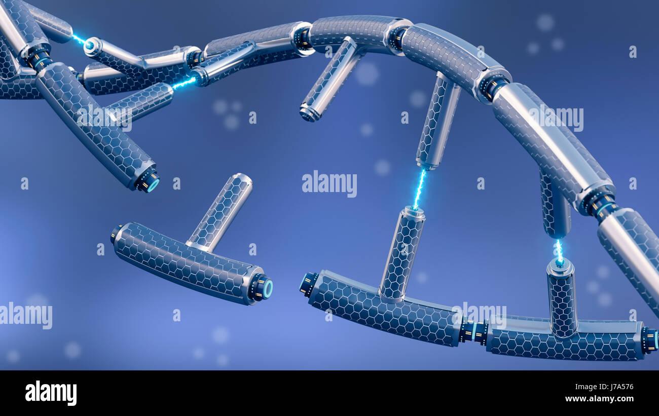 Technische DNA, 3D-Rendering gebrochen Stockbild