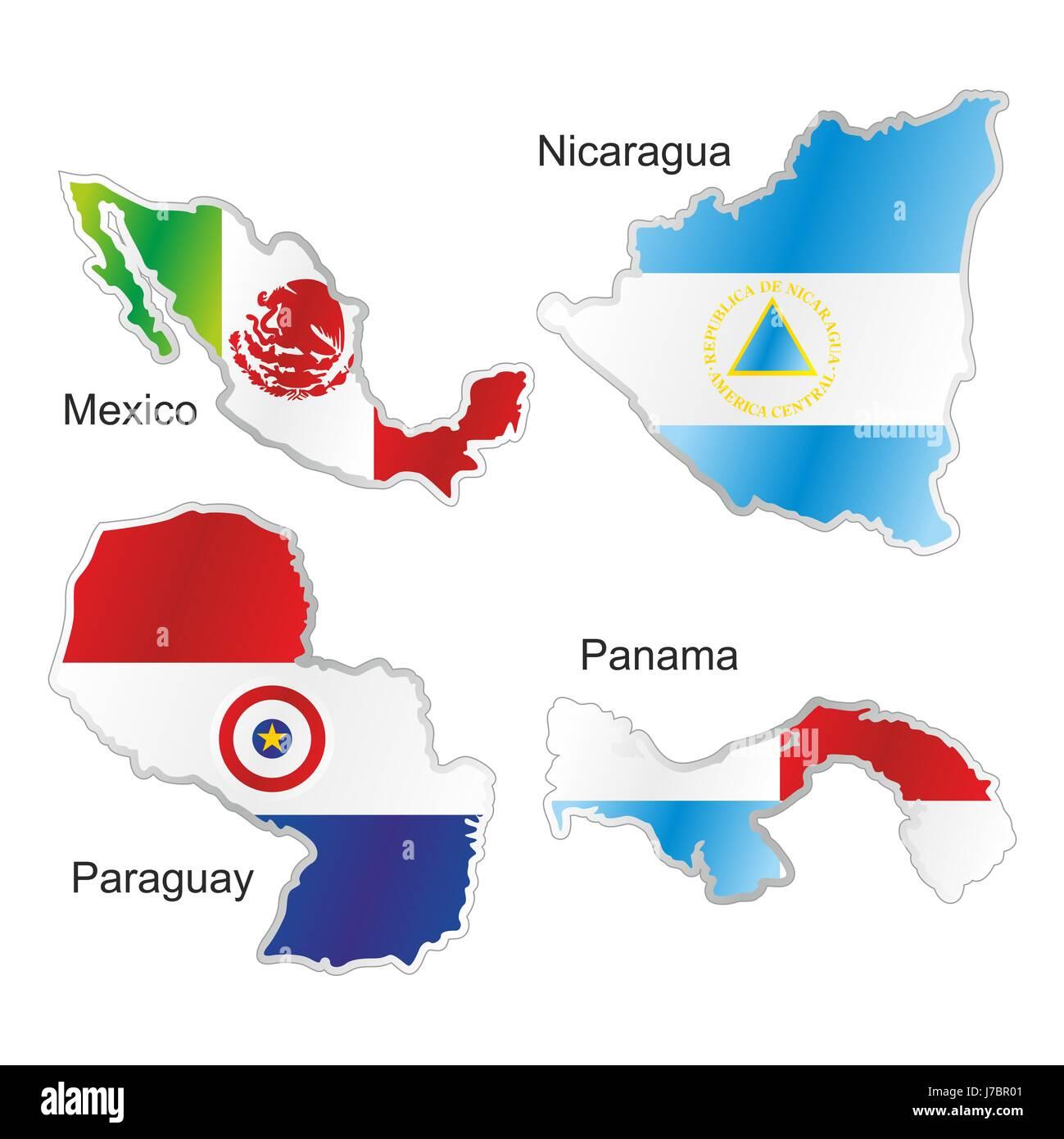 Mexiko Karte Welt.Amerika Fahne Paraguay Panama Landkarte Nicaragua Atlas