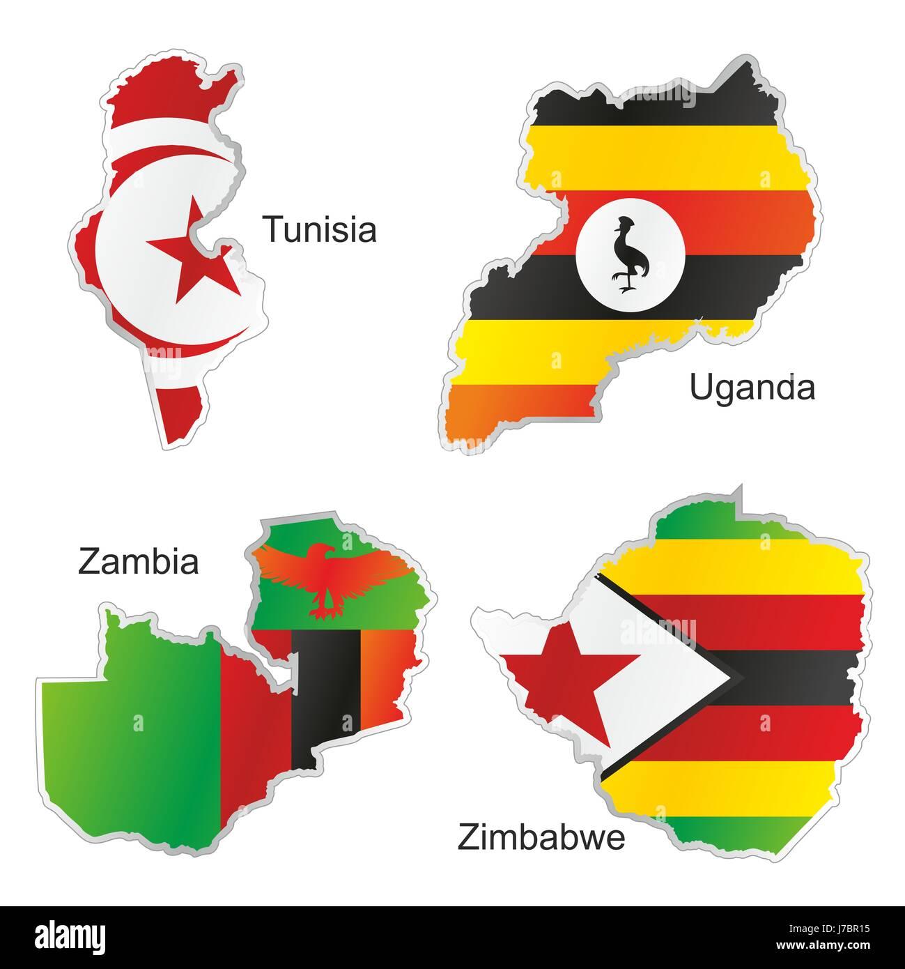 Tunesien Karte Welt.Afrika Tunesien Flagge Simbabwe Sambia Uganda Atlas Karte