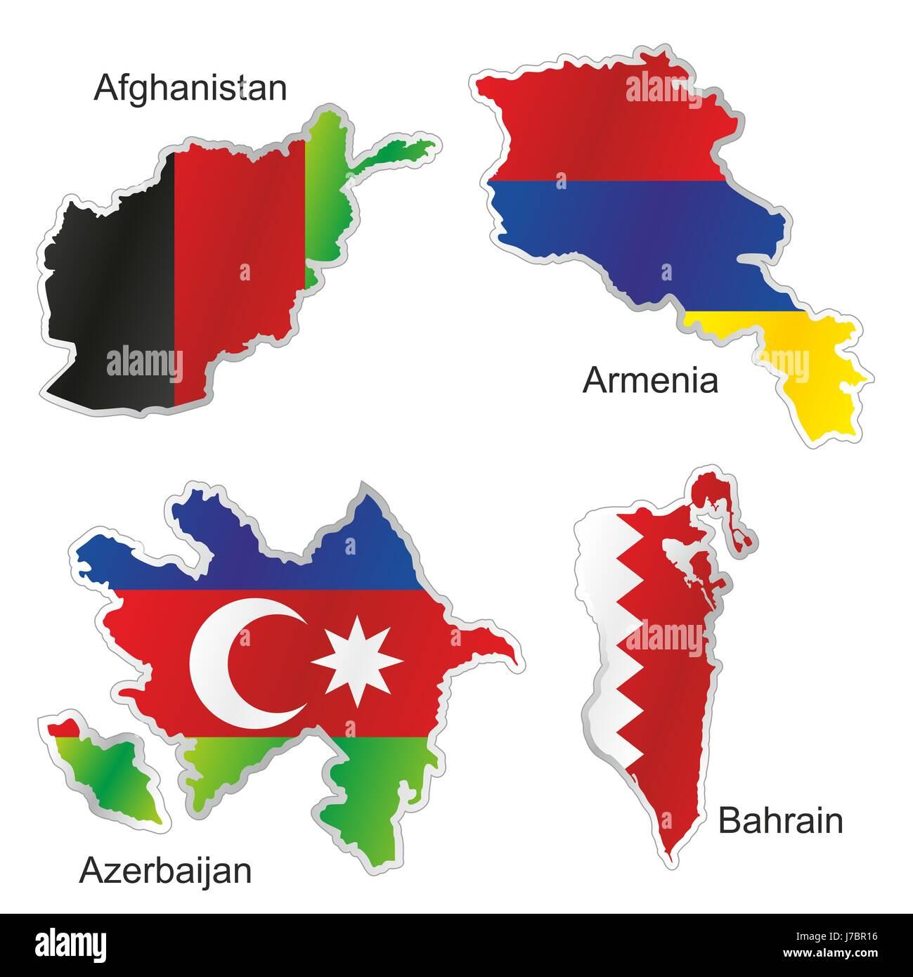 Asien Flagge Aserbaidschan Armenien Afghanistan Karte Atlas Weltkarte Isoliert Stockfotografie Alamy